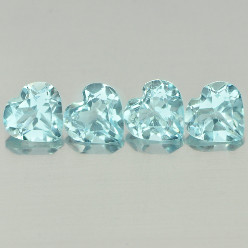 3.35 Ct. 4 Pcs. Heart Shape Natural Gemstones Baby Blue Topaz From Brazil