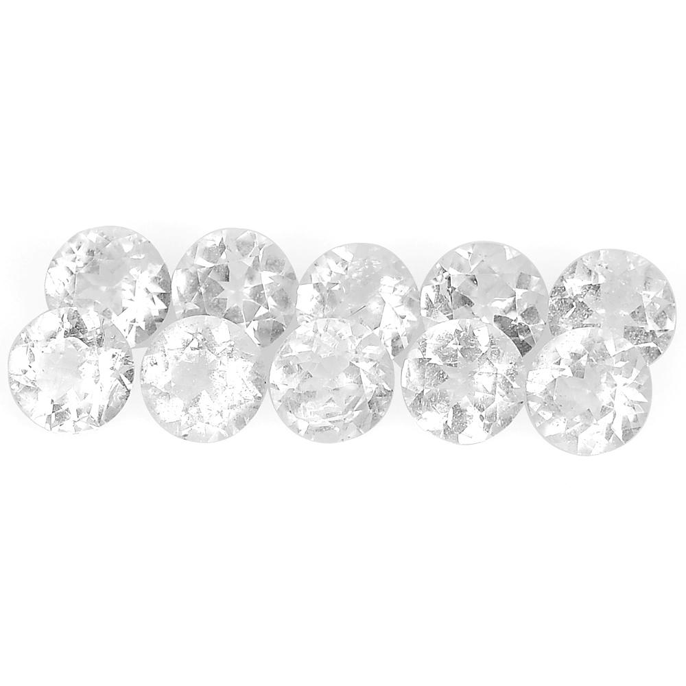 2.51 Ct. 10 Pcs. Round Diamond Cut Natural White Topaz From Brazil Unheated