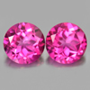 2.01 Ct. Round Shape 6 Mm. Natural Gemstone Clean Pink Topaz Matching Pair