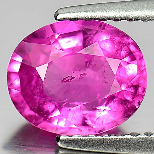 Unheated 1.56 Ct. Natural Gemstone Purplish Pink Rubellite Oval Shape 8.7 x 7 Mm
