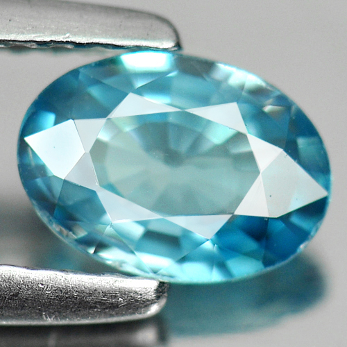 0.88 Ct. Deluxe Oval Natural Blue Zircon Cambodia Gem