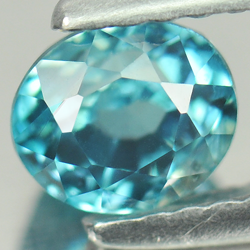 1.27 Ct. Oval Shape 5.5 x 4.8 x 4.5 Natural Gemstone Blue Zircon From Cambodia