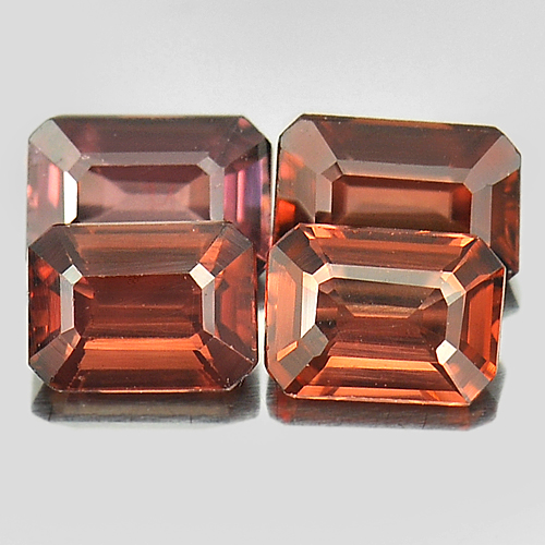 2.02 Ct. 4 Pcs. Octagon Natural Gems Imperial Pink Zircon Tanzania