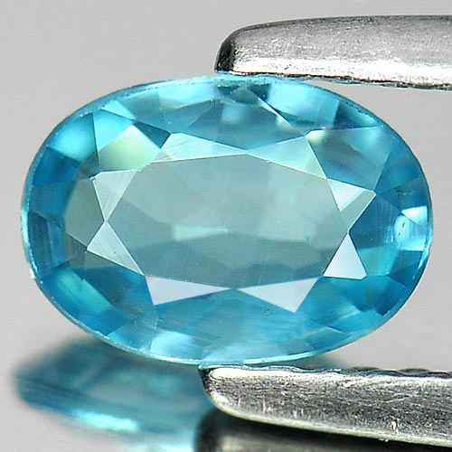 0.87 Ct. Oval Shape Natural Blue Color Zircon Gemstone