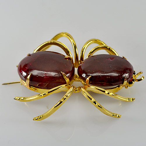 Charming 141.09 Ct. Spider Brooch Nickel Natural Purplish Red Ruby