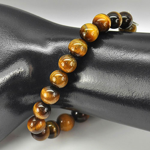87.01 Ct. Natural Yellow Brown Color Tigers Eye Beads Bracelet Length 8 Inch.