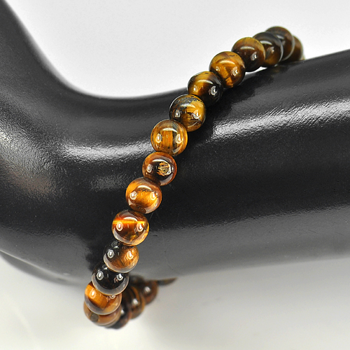 49.18 Ct. Natural Yellow Brown Color Tigers Eye Beads Bracelet Length 7 Inch.