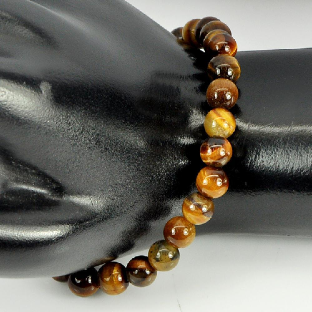 51.10 Ct. Round 6.4 Mm. Natural Brown Tigers Eye Beads Bracelet Length 7 Inch.