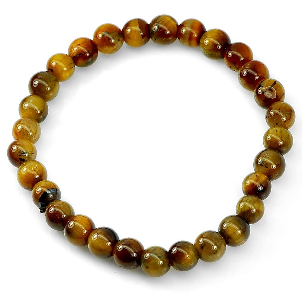 48.20 Ct. Natural Yellow Brown Color Tigers Eye Beads Bracelet Length 7 Inch.