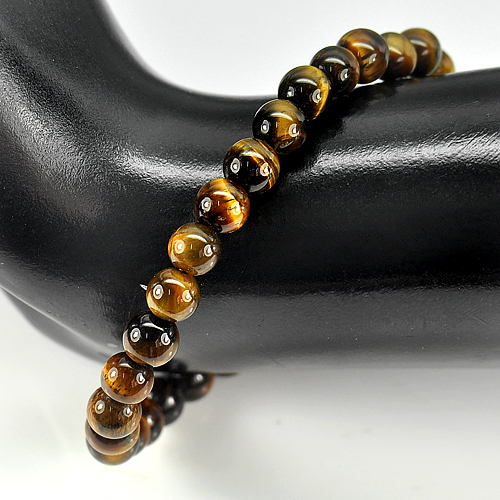 50.33 Ct. Natural Yellow Brown Color Tigers Eye Beads Bracelet Length 7 Inch.