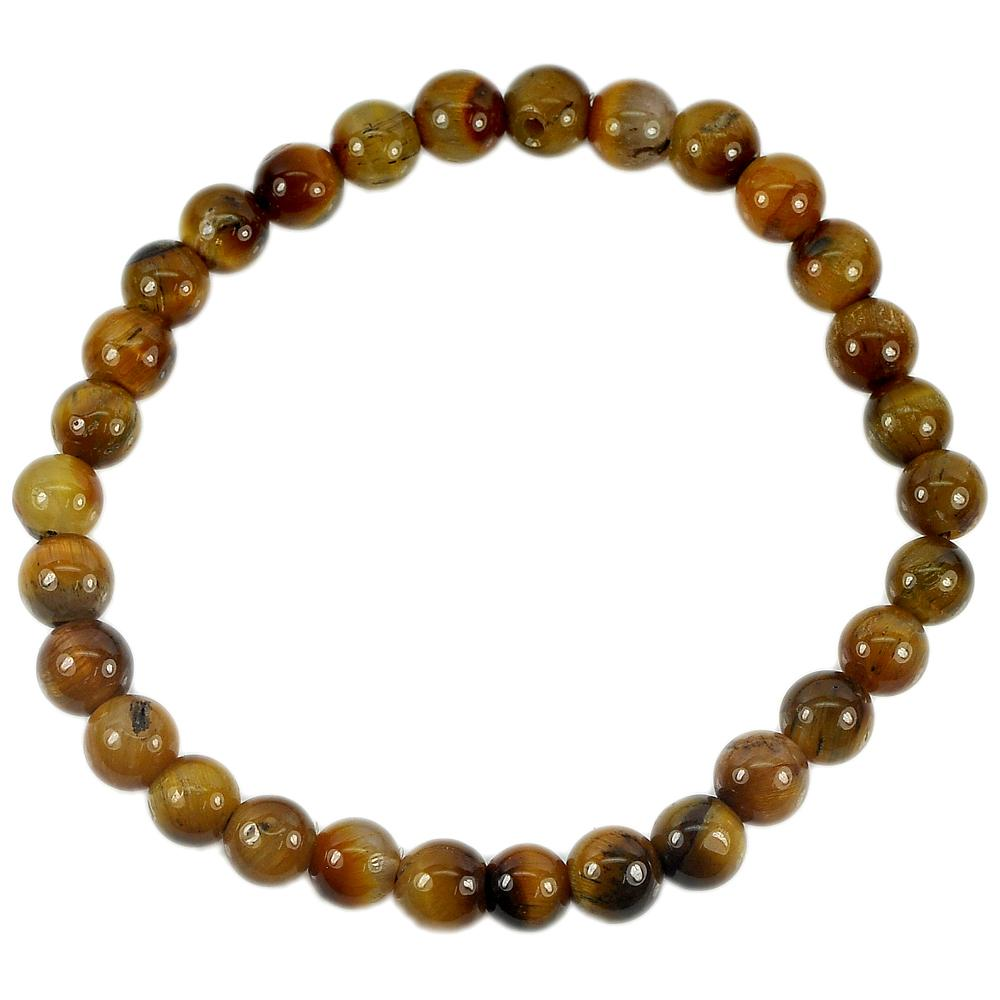 51.23 Ct. Natural Yellow Brown Color Tigers Eye Beads Bracelet Length 7 Inch.