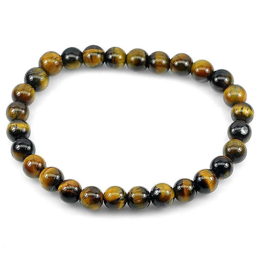 49.91 Ct. Natural Yellow Brown Color Tigers Eye Beads Bracelet Length 7 Inch.