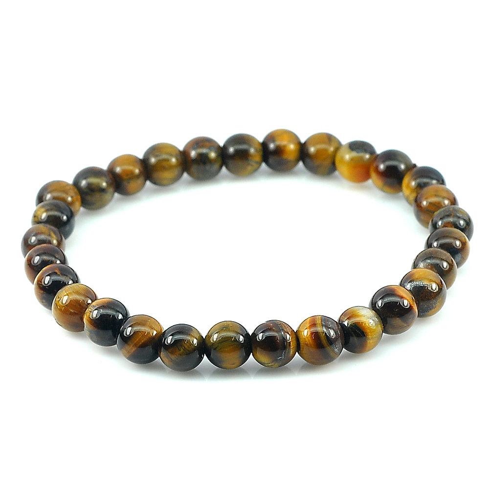 51.26 Ct. Natural Yellow Brown Color Tigers Eye Beads Bracelet Length 7 Inch.