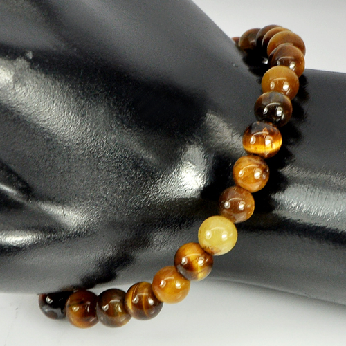 51.00 Ct. Round Cabochon 6.5 mm. Natural Brown Tigers Eye Beads Bracelet 7 Inch.