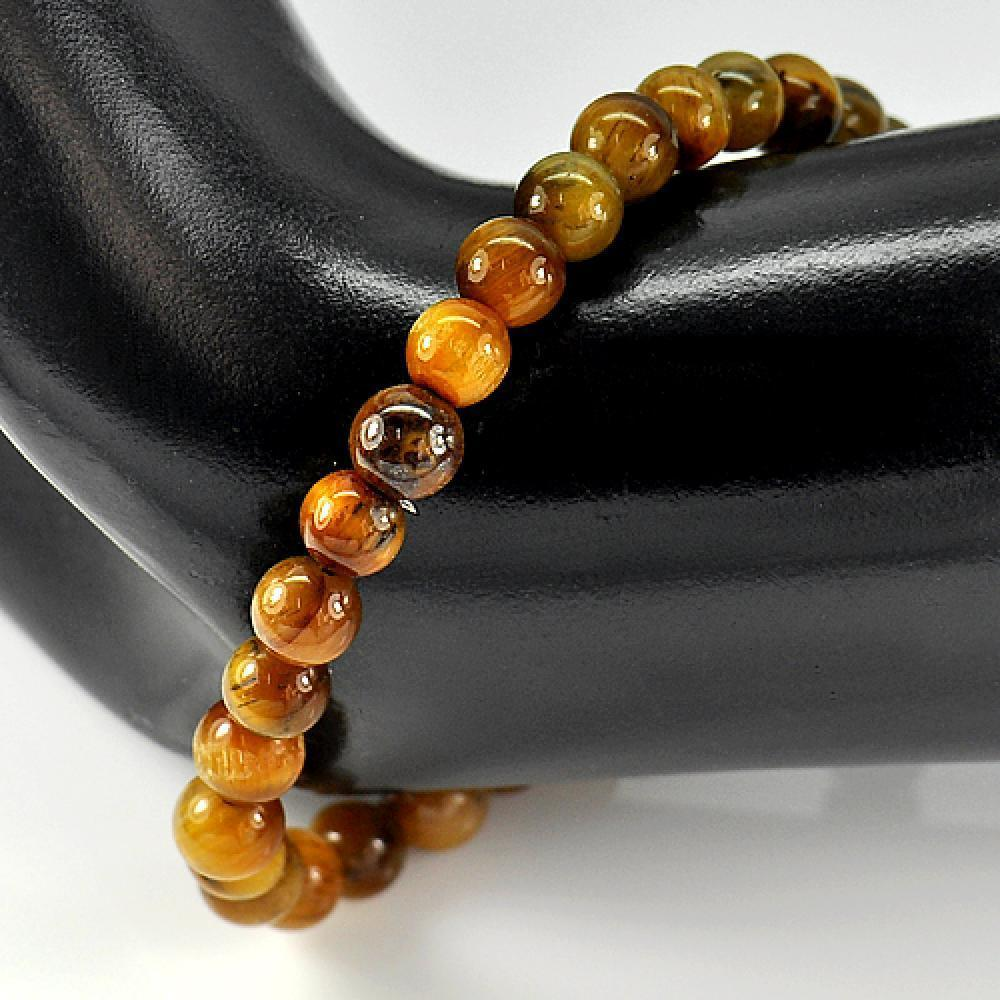 48.74 Ct. Natural Yellow Brown Color Tigers Eye Beads Bracelet Length 7 Inch.