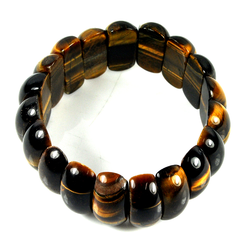 319.35 Ct. Natural Yellow Brown Color Tigers Eye Beads Bracelet Length 8 Inch.