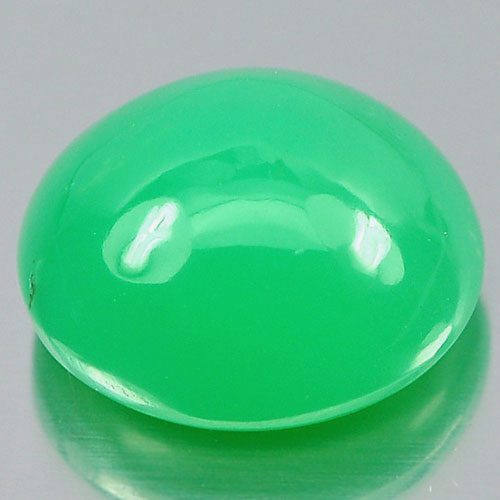Unheated 3.98 Ct. Oval Cabochon Natural Gemstone Green Chrysoprase Australia