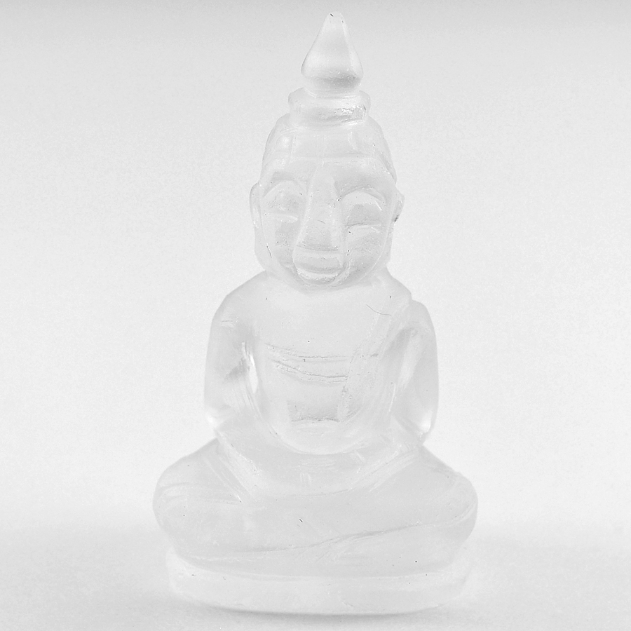 Charming 58.67 Ct. Natural White Quartz Buddha Carving From Thailand