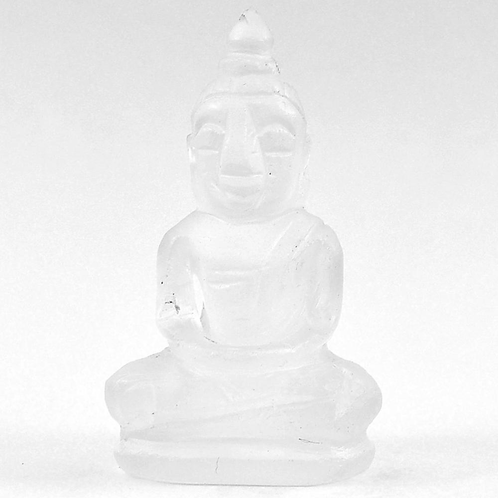56.13 Ct. Delightful Natural White Quartz Buddha Carving Size 39 x 22 Mm.