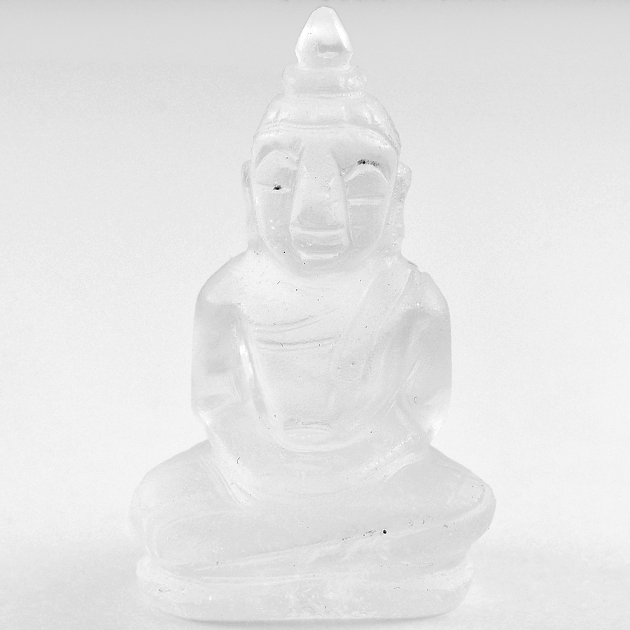 Lovely 57.12 Ct. Natural White Quartz Buddha Carving From Thailand