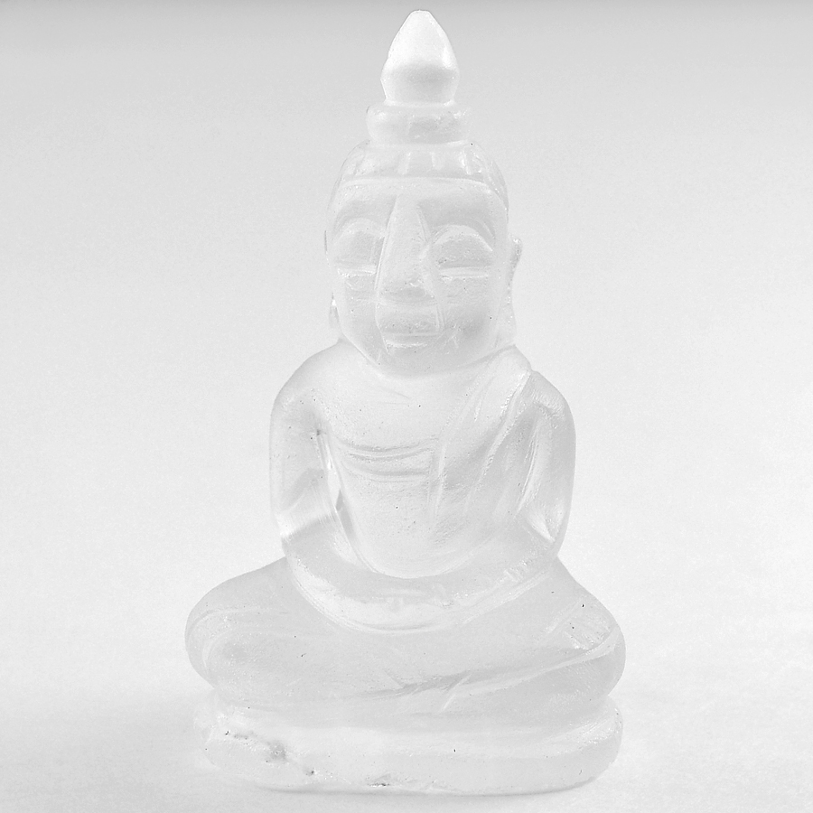 Delightful 53.41 Ct. Natural White Quartz Buddha Carving Unheated From Thailand