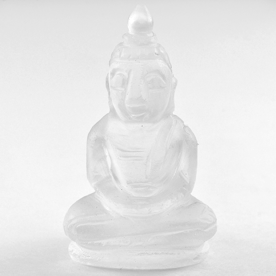 Attractive 56.78 Ct. Natural White Quartz Buddha Carving 38 x 22 x 17 Mm.
