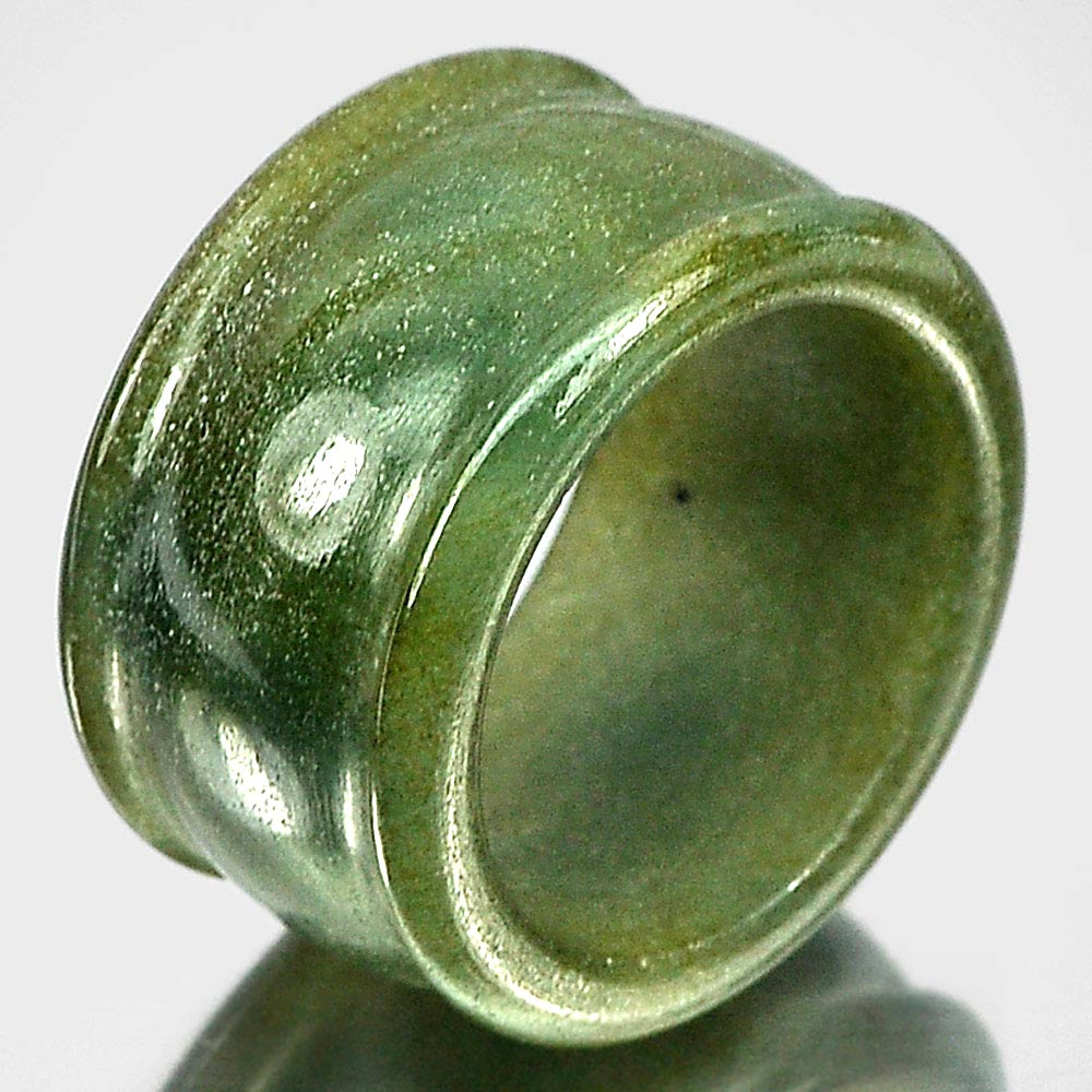 48.93 Ct. Green Jade Ring Size 10 Natural Gemstone Unheated