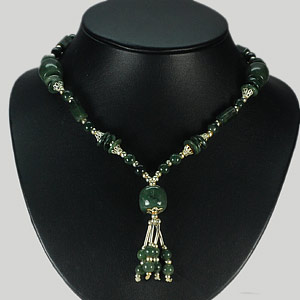 323.27 Ct. Natural Green Jade Bead Nickel Necklace