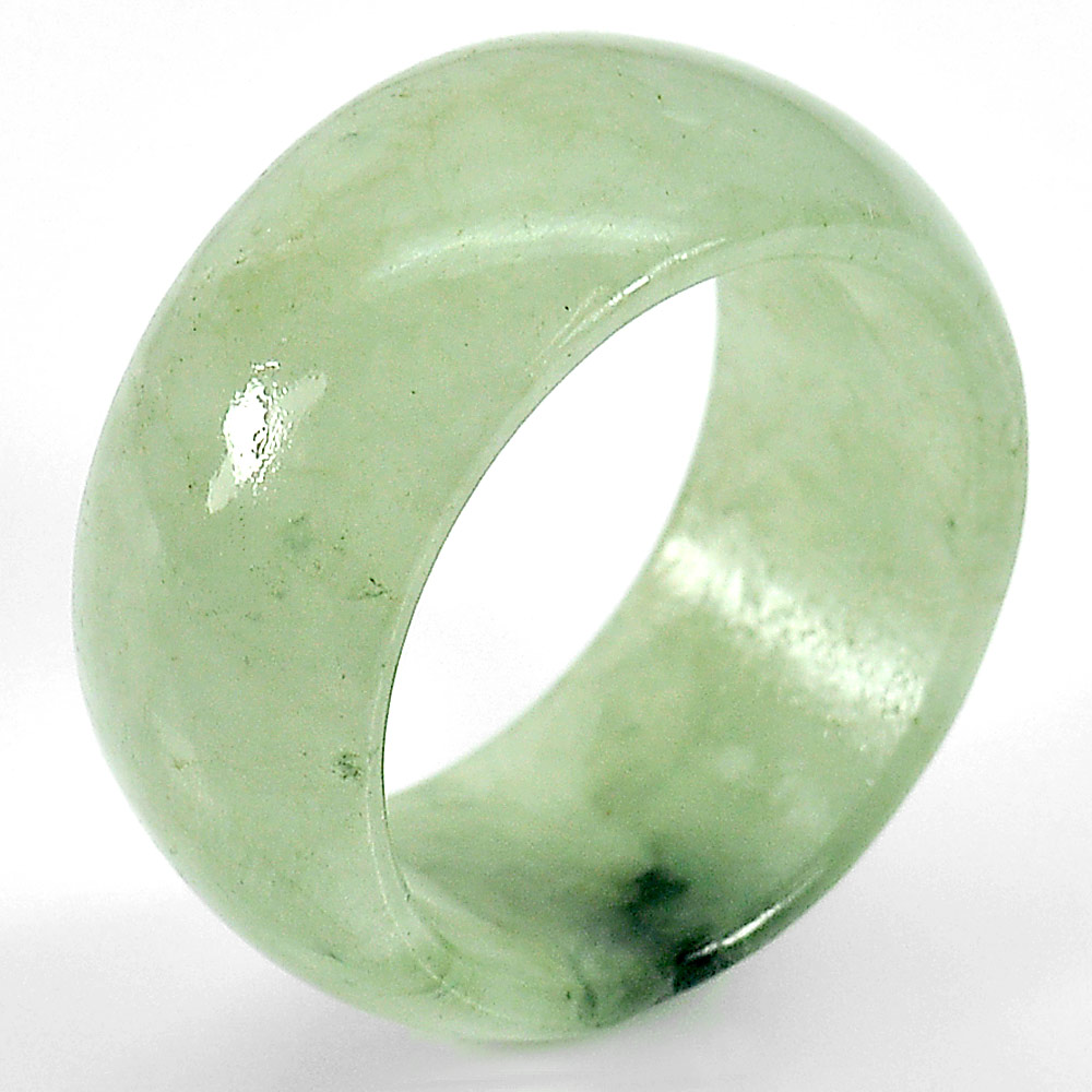 31.26 Ct Natural Green White Ring Jade Sz 10 Thailand Unheated