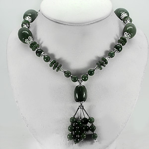 625.00 Ct. Good Natural Green Jade Bead Nickel Necklace Unheated