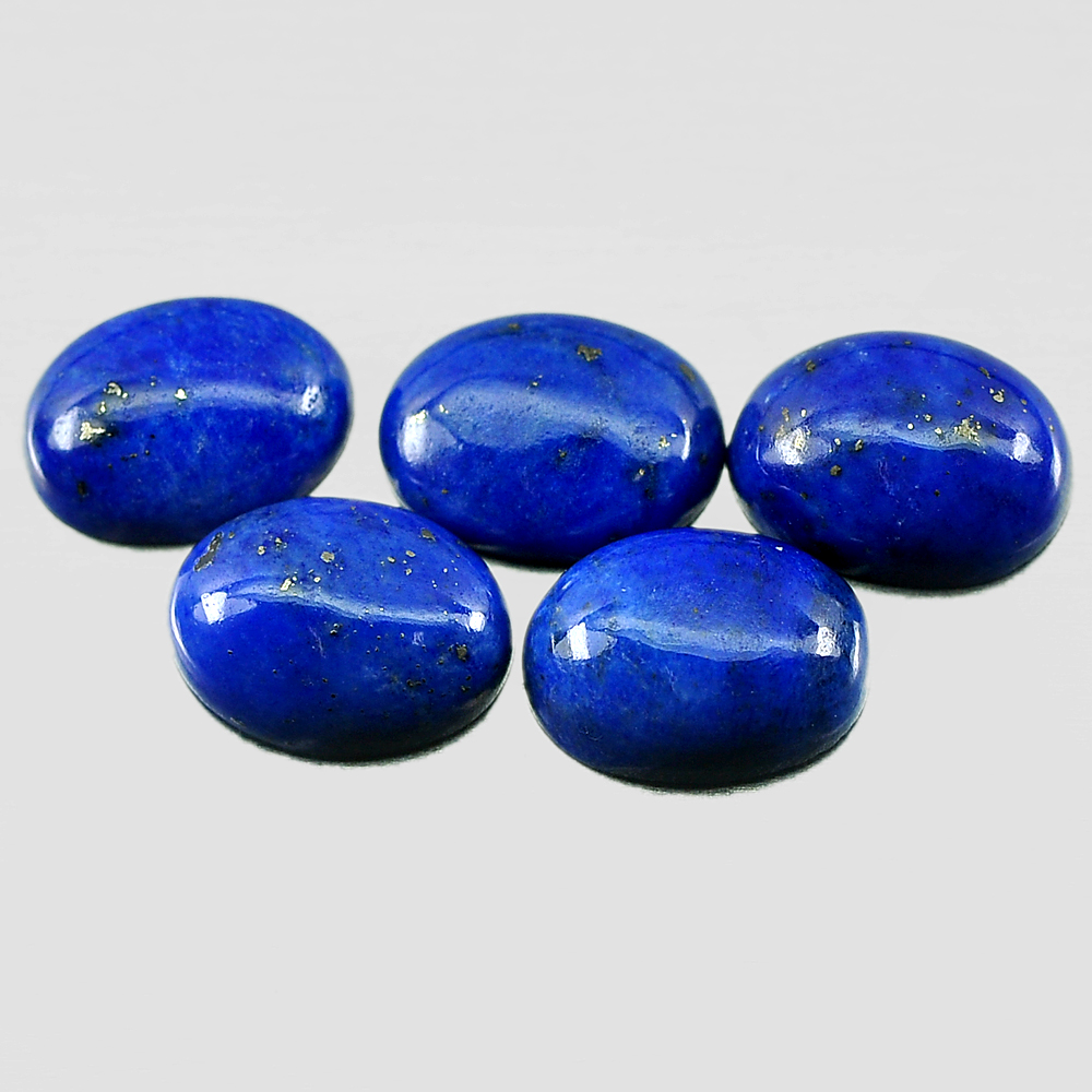 Good Gemstones 4.11 Ct. 5 Pcs. Natural Royal Blue Lapis Lazuli Oval Cabochon