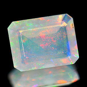 0.80 Ct Octagon Natural Gem Multi Color Opal Unheated