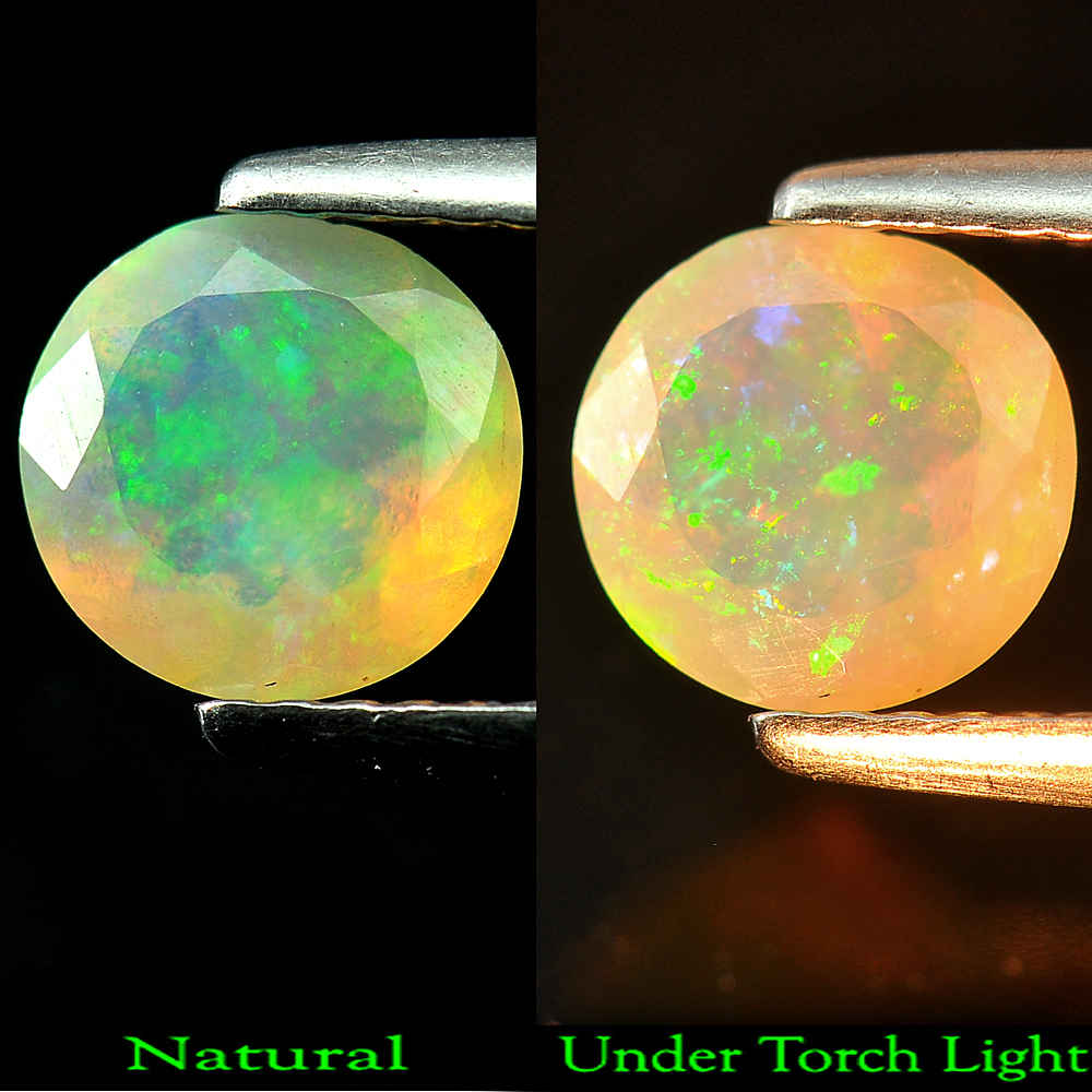 0.64 Ct  Good Color Round Shape Natural Gemstone Multi Color Opal Unheated