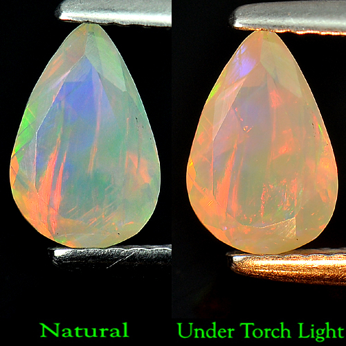 0.59 Ct. Pear Natural Multi Color Opal Gem Ethiopia