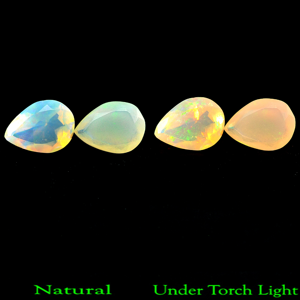 0.62 Ct. Pair Natural Gem Rainbow Color Play Of Colour Opal Pear Shape