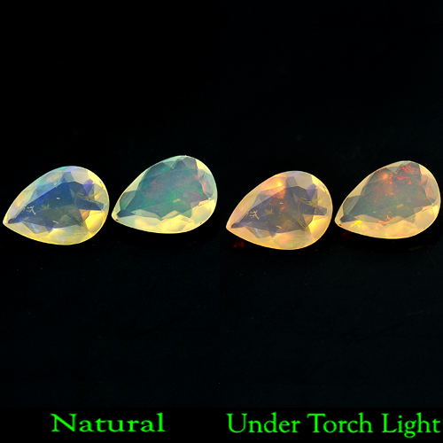 0.67 Ct. Pair Pear Shape Natural Gem Multi-Color (Play Of Colour) Opal