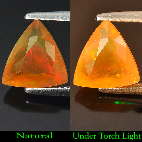 1.81 Ct. Trilliant Shape Natural Gem Orange Rainbow Play Of Colour Fire Opal