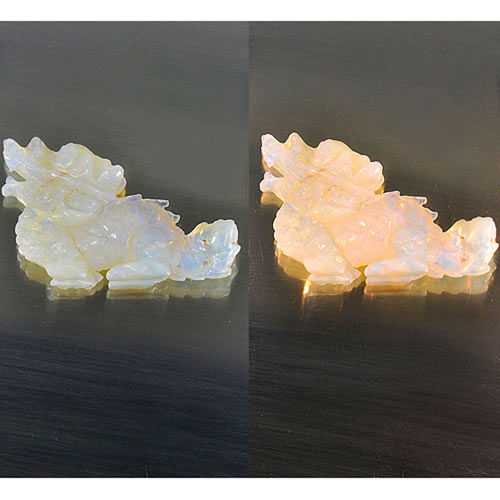 9.35 Ct. Vivid Natural Multi-Color Play Of Colour Opal Dragon Carving