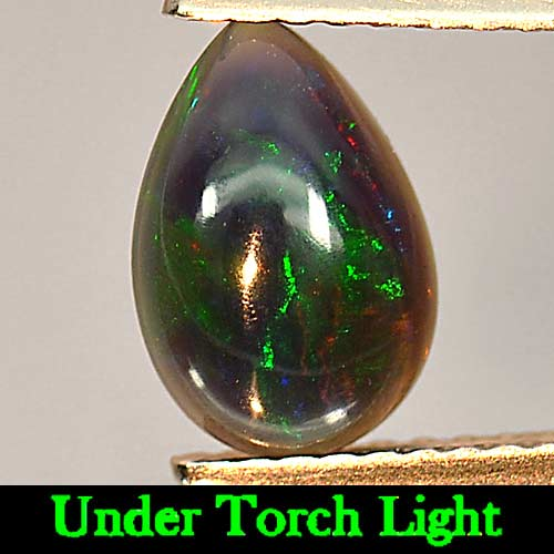 0.78 Ct. Pear Cab Natural Gem Play Of Color Rainbow Fire Red Black Opal