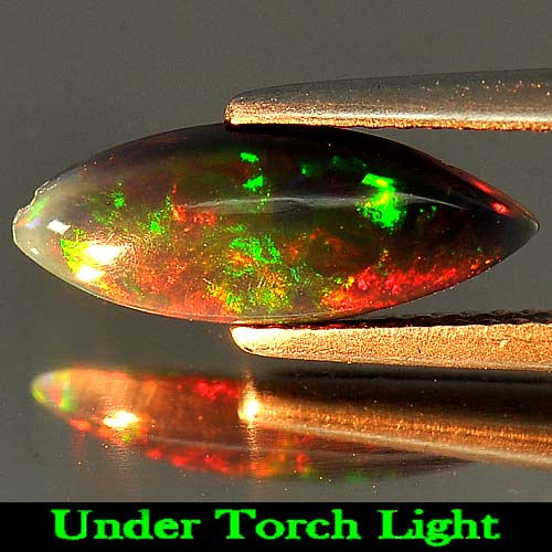 1.06 Ct. Marquise Cabochon Natural Play Of Color Rainbow Fire Red Black Opal
