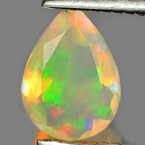 0.35 Ct. Pear Natural Gem Multi Color Play Of Colour Opal Unheated