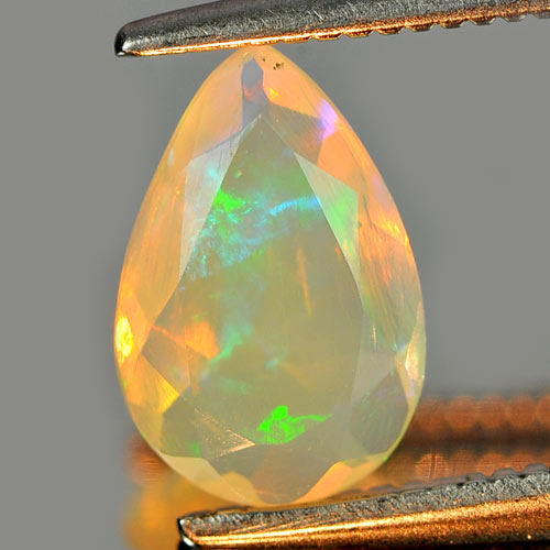 0.57 Ct. Pear Natural Gem Multi Color Play Of Colour Opal Unheated