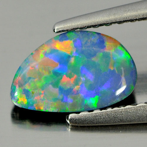 0.68 Ct. Good Color Free Form Cab Natural Multi Color Doublet Opal Gemstone
