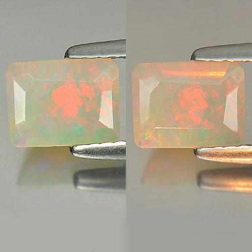 0.58 Ct. Nice Color Unheated Baguette Shape Natural Gem Multi-Color Opal