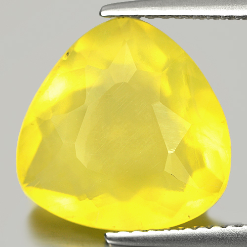 4.36 Ct. Trilliant Shape Natural Yellow Opal Gemstone Unheated Mexico