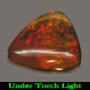 0.80 Ct. Trilliant Cab Natural Gem Play Of Color Rainbow Fire Red Black Opal