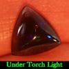 0.86 Ct. Natural Trilliant Cabochon Play Of Color Rainbow Fire Red Black Opal