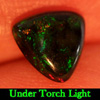 0.80 Ct. Natural Trilliant Cabochon Play Of Color Rainbow Fire Red Black Opal