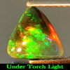 0.95 Ct. Trilliant Cabochon Natural Play Of Color Rainbow Fire Red Black Opal
