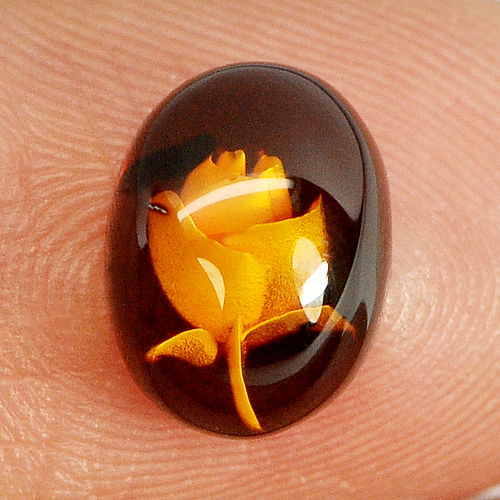 0.63 Ct. Flower Carving In Natural Brown Yellow Amber